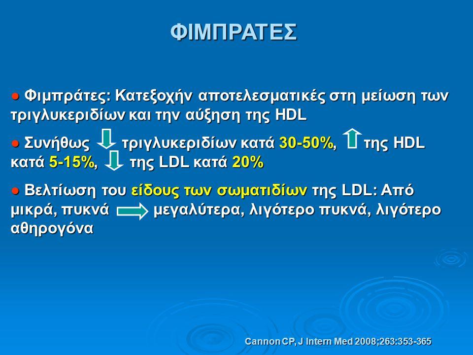 ΦΙΜΠΡΑΤΕΣ ● Φιμπράτες: Κατεξοχήν αποτελεσματικές στη μείωση των τριγλυκεριδίων και την αύξηση της HDL ● Συνήθως τριγλυκεριδίων κατά 30-50%, της HDL κα