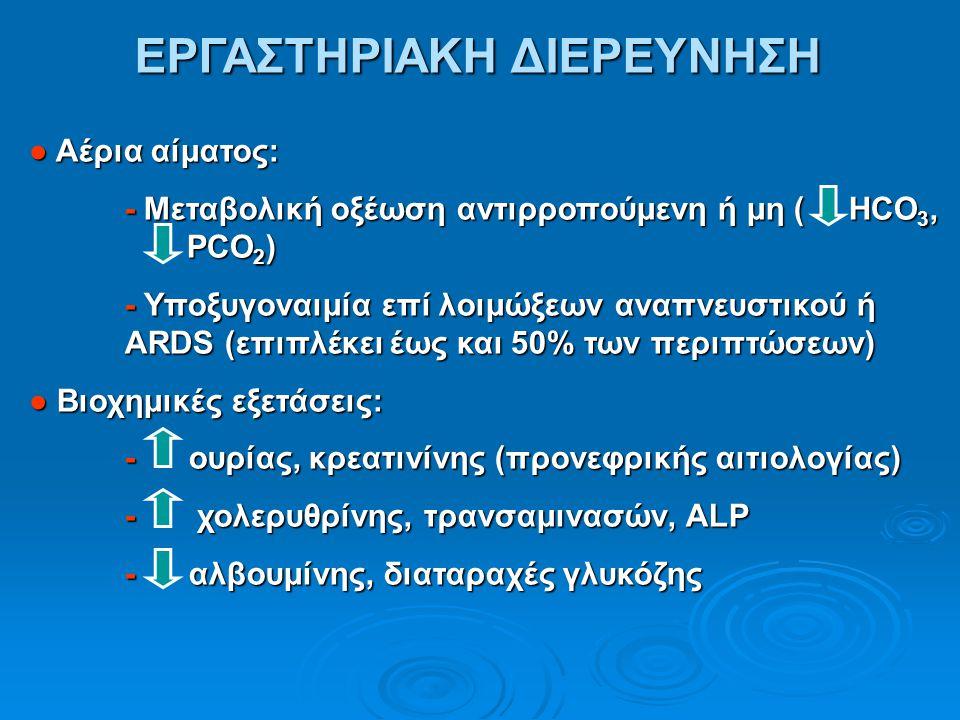 ΕΡΓΑΣΤΗΡΙΑΚΗ ΔΙΕΡΕΥΝΗΣΗ ● Αέρια αίματος: - Μεταβολική οξέωση αντιρροπούμενη ή μη ( HCO 3, PCO 2 ) - Υποξυγοναιμία επί λοιμώξεων αναπνευστικού ή ARDS (