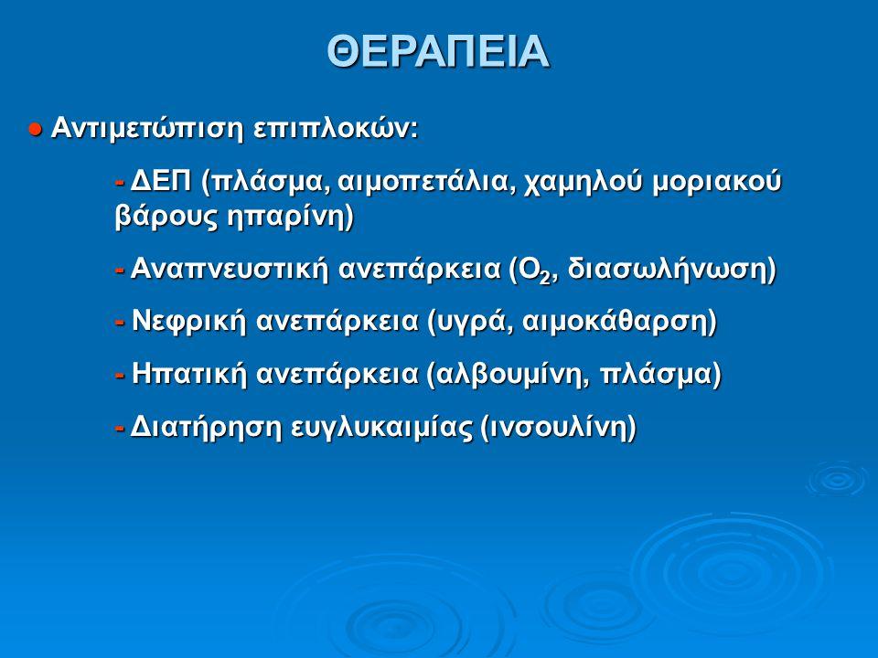ΘΕΡΑΠΕΙΑ ● Αντιμετώπιση επιπλοκών: - ΔΕΠ (πλάσμα, αιμοπετάλια, χαμηλού μοριακού βάρους ηπαρίνη) - Αναπνευστική ανεπάρκεια (Ο 2, διασωλήνωση) - Νεφρική