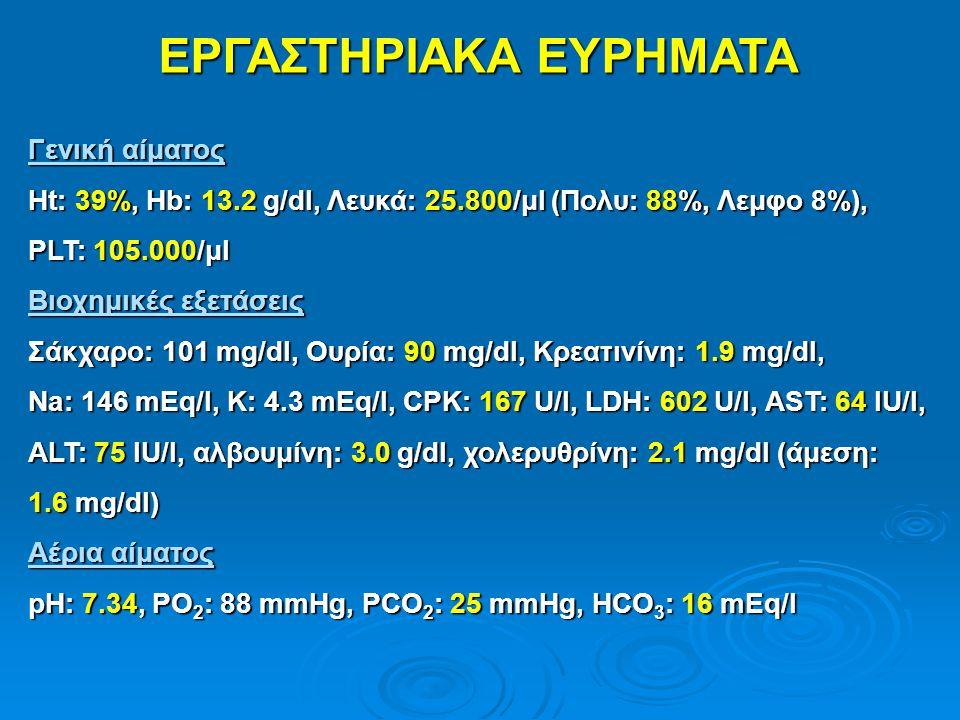 ΕΡΓΑΣΤΗΡΙΑΚΑ ΕΥΡΗΜΑΤΑ Γενική αίματος Ht: 39%, Hb: 13.2 g/dl, Λευκά: 25.800/μl (Πολυ: 88%, Λεμφο 8%), PLT: 105.000/μl Βιοχημικές εξετάσεις Σάκχαρο: 101
