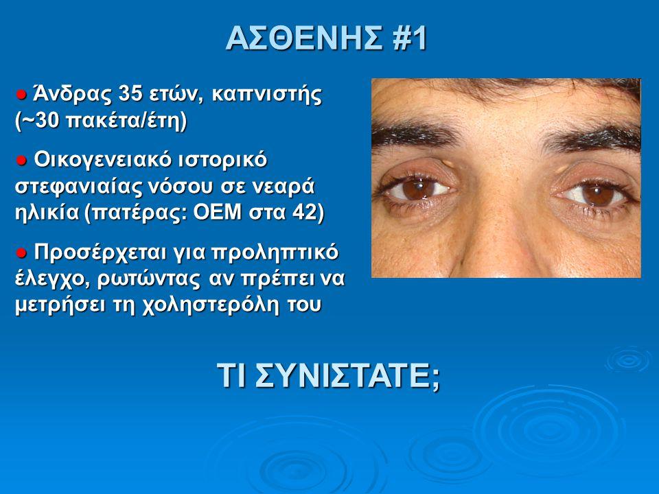 ΑΣΘΕΝΗΣ #1 ● Άνδρας 35 ετών, καπνιστής (~30 πακέτα/έτη) ● Οικογενειακό ιστορικό στεφανιαίας νόσου σε νεαρά ηλικία (πατέρας: ΟΕΜ στα 42) ● Προσέρχεται
