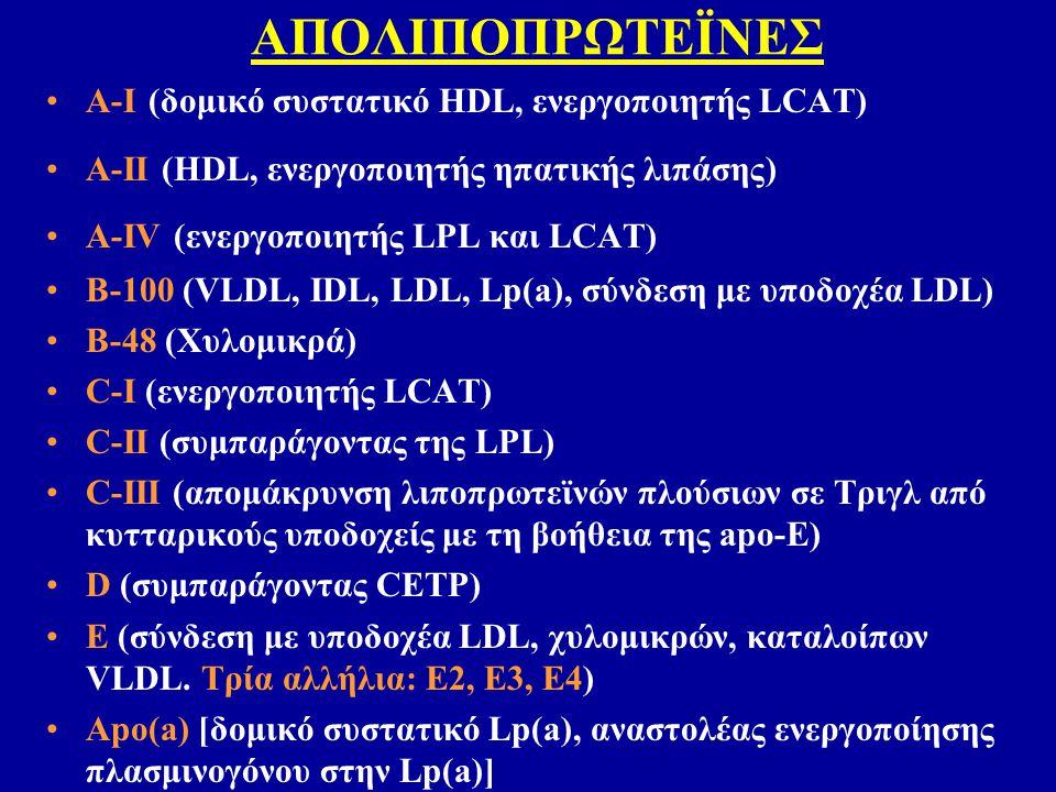 ΑΠΟΛΙΠΟΠΡΩΤΕΪΝΕΣ A-I (δομικό συστατικό HDL, ενεργοποιητής LCAT) A-II (HDL, ενεργοποιητής ηπατικής λιπάσης) Α-ΙV (ενεργοποιητής LPL και LCAT) B-100 (VL