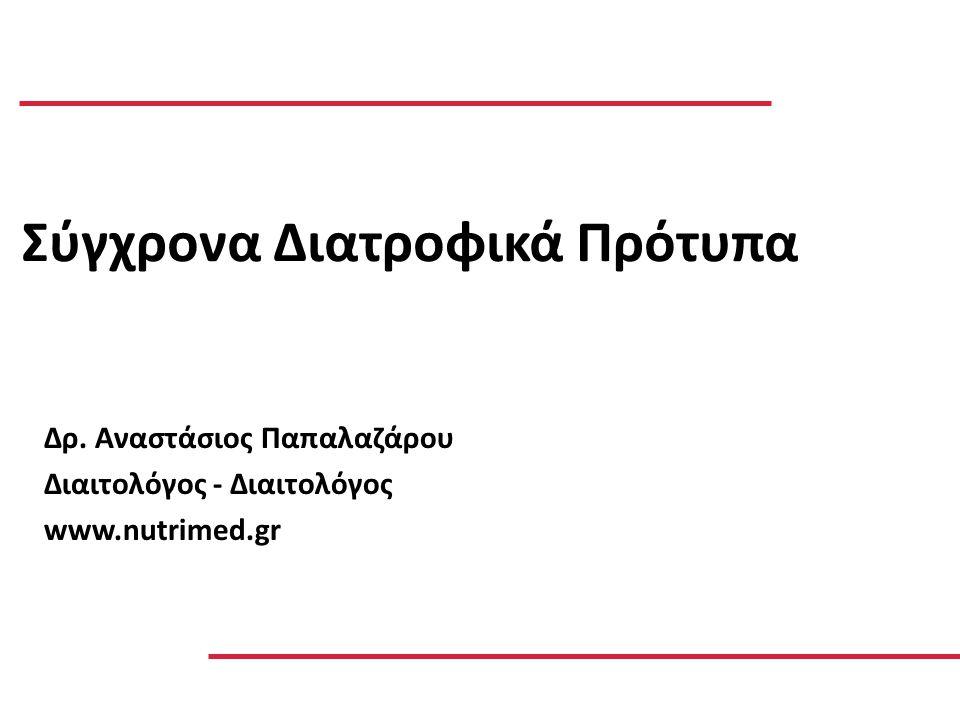 Δρ. Αναστάσιος Παπαλαζάρου Διαιτολόγος - Διαιτολόγος www.nutrimed.gr Σύγχρονα Διατροφικά Πρότυπα