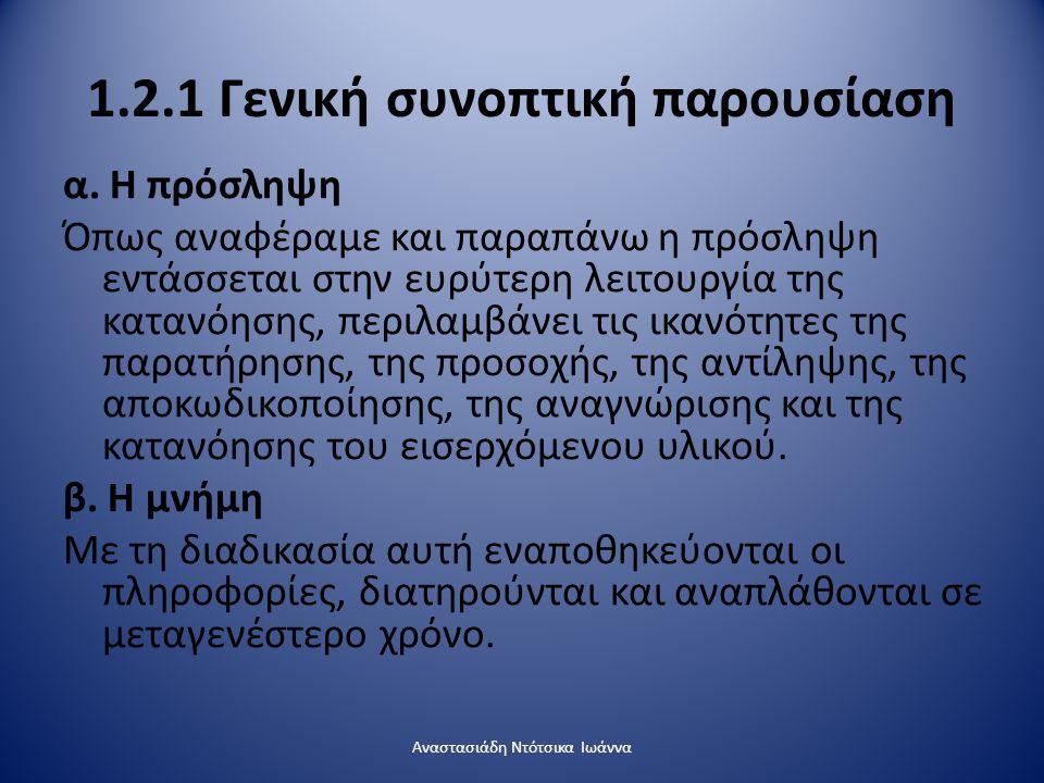 1.2.1 Γενική συνοπτική παρουσίαση α. Η πρόσληψη Όπως αναφέραμε και παραπάνω η πρόσληψη εντάσσεται στην ευρύτερη λειτουργία της κατανόησης, περιλαμβάνε