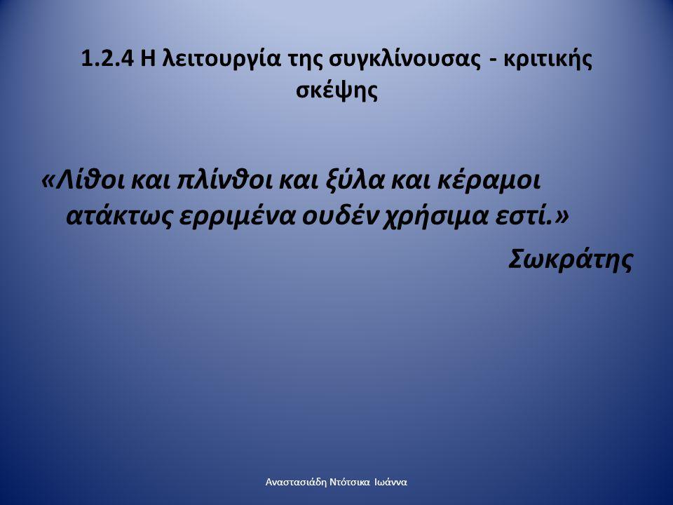 1.2.4 Η λειτουργία της συγκλίνουσας - κριτικής σκέψης «Λίθοι και πλίνθοι και ξύλα και κέραμοι ατάκτως ερριμένα ουδέν χρήσιμα εστί.» Σωκράτης Αναστασιά