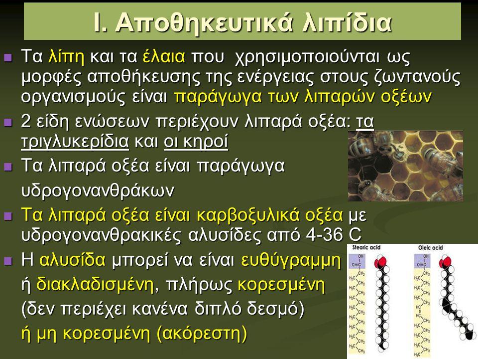 Εικοσανοειδή Παράγωγα λιπαρών οξέων Παράγωγα λιπαρών οξέων Προέρχονται από το αραχιδονικό οξύ (20:4, εικοσανθρακικό πολυακόρεστο λιπαρό οξύ) Προέρχονται από το αραχιδονικό οξύ (20:4, εικοσανθρακικό πολυακόρεστο λιπαρό οξύ) Παρακρινείς ορμόνες (ουσίες που δρουν μόνο πάνω στα κύτταρα που είναι κοντά στη θέση σύνθεσης της ορμόνης, αντί να μεταφέρονται στο αίμα) Παρακρινείς ορμόνες (ουσίες που δρουν μόνο πάνω στα κύτταρα που είναι κοντά στη θέση σύνθεσης της ορμόνης, αντί να μεταφέρονται στο αίμα) Λειτουργίες: συμμετέχουν στη λειτουργία της αναπαραγωγής, στη φλεγμονή, τον πυρετό, τον πόνο από τραυματισμούς, το σχηματισμό Λειτουργίες: συμμετέχουν στη λειτουργία της αναπαραγωγής, στη φλεγμονή, τον πυρετό, τον πόνο από τραυματισμούς, το σχηματισμό θρόμβων στο αίμα, τη ρύθμιση της αρτηριακής πίεσης, την έκκριση γαστρικού υγρού Τρεις τάξεις εικοσανοειδών: Τρεις τάξεις εικοσανοειδών: - προσταγλανδίνες, θρομβοξάνια, λευκοτριένες λευκοτριένες