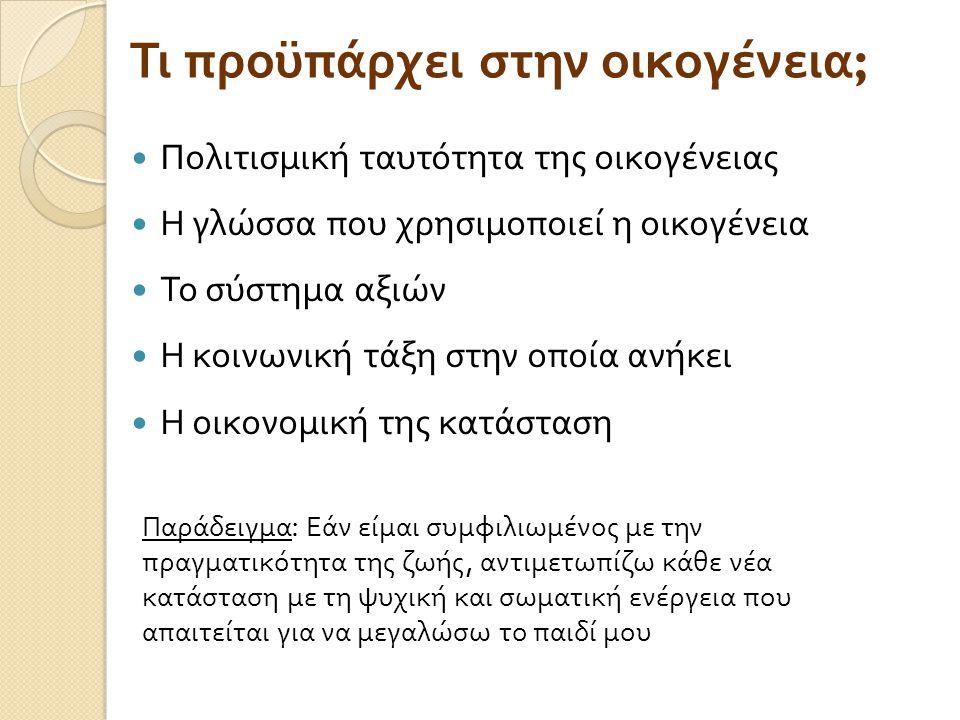 Οι απόψεις και οι προσδοκίες των γονέων διαμορφώνονται ανάλογα με τις στάσεις και τις αξίες της κοινωνίας Γλωσσική και κοινωνική εμπειρία Επικοινωνία στην ΕΝΓ Προσωπική τραγωδία, απομόνωση για τους γονείς Επικοινωνία στα Ελληνικά