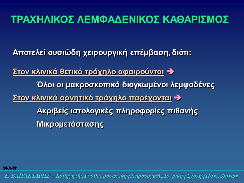 Ε. ΒΑΪΡΑΚΤΑΡΗΣ – Καθηγητής Γναθοπροσωπικής Χειρουργικής Ιατρικής Σχολής Παν. Αθηνών ΤΡΑΧΗΛΙΚΟΣ ΛΕΜΦΑΔΕΝΙΚΟΣ ΚΑΘΑΡΙΣΜΟΣ Στον κλινικά θετικό τράχηλο αφα