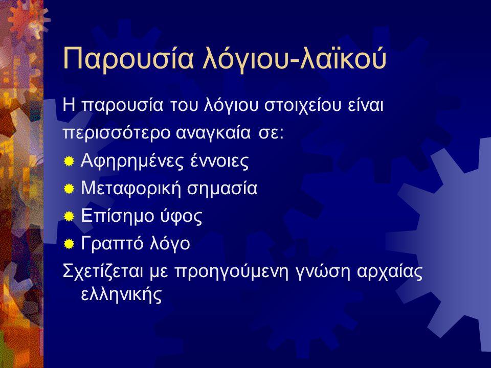 Παρουσία λόγιου-λαϊκού Η παρουσία του λόγιου στοιχείου είναι περισσότερο αναγκαία σε:  Αφηρημένες έννοιες  Μεταφορική σημασία  Επίσημο ύφος  Γραπτό λόγο Σχετίζεται με προηγούμενη γνώση αρχαίας ελληνικής