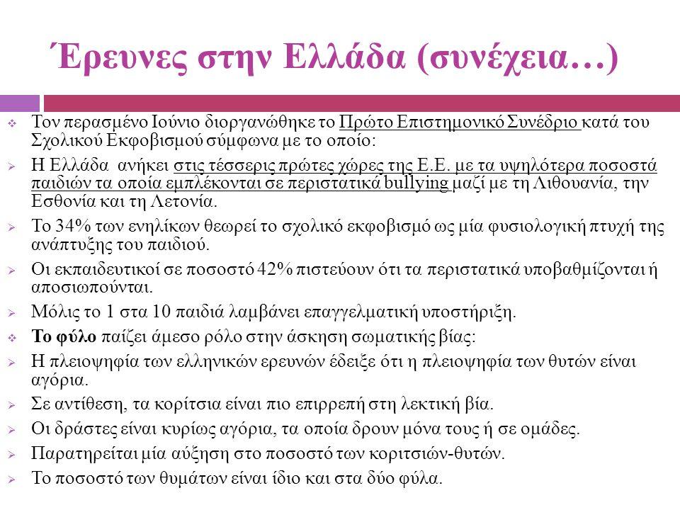Έρευνες στην Ελλάδα (συνέχεια…)  Τον περασμένο Ιούνιο διοργανώθηκε το Πρώτο Επιστημονικό Συνέδριο κατά του Σχολικού Εκφοβισμού σύμφωνα με το οποίο: 