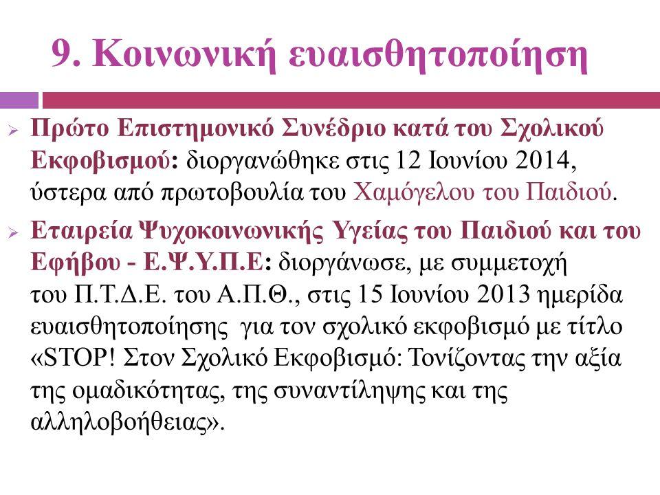 9. Κοινωνική ευαισθητοποίηση  Πρώτο Επιστημονικό Συνέδριο κατά του Σχολικού Εκφοβισμού: διοργανώθηκε στις 12 Ιουνίου 2014, ύστερα από πρωτοβουλία του