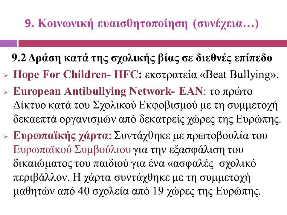 9. Κοινωνική ευαισθητοποίηση (συνέχεια…) 9.2 Δράση κατά της σχολικής βίας σε διεθνές επίπεδο  Hope For Children- HFC: εκστρατεία «Beat Bullying».  E