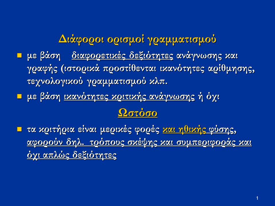2 Όροι όπως «εγγράμματος/αγράμματος», «μορφωμένος» χρησιμοποιούνται με συνδηλώσεις που αποδίδου στους εγγράμματους συγκεκριμένους τρόπους σκέψης και συμπεριφοράς συγκεκριμένους τρόπους σκέψης και συμπεριφοράς (δηλ.