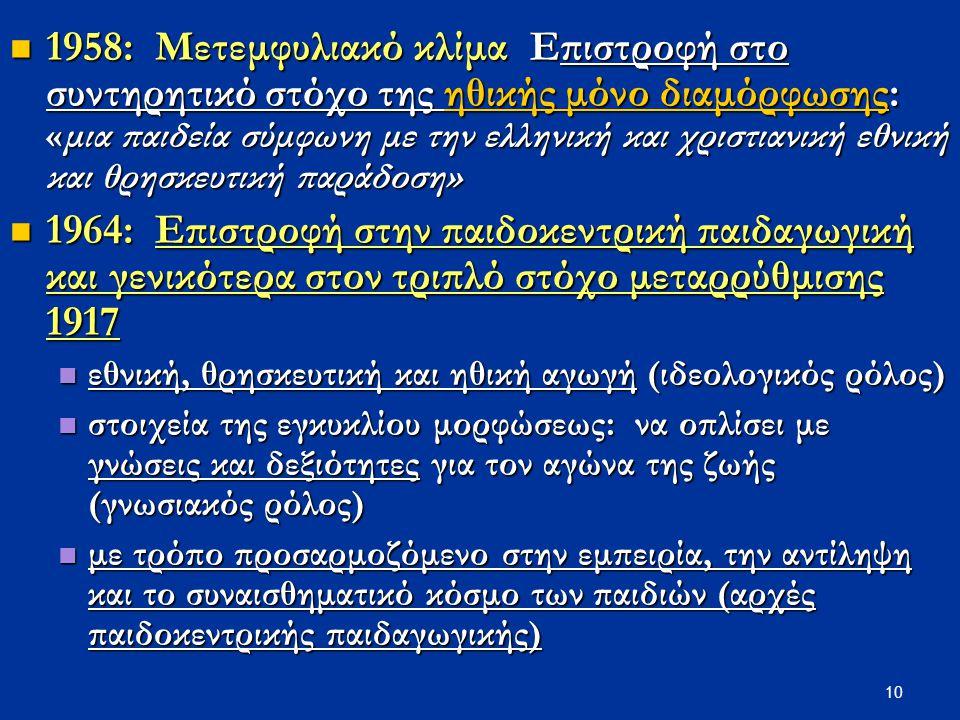 10 1958: Μετεμφυλιακό κλίμα Επιστροφή στο συντηρητικό στόχο της ηθικής μόνο διαμόρφωσης: «μια παιδεία σύμφωνη με την ελληνική και χριστιανική εθνική κ