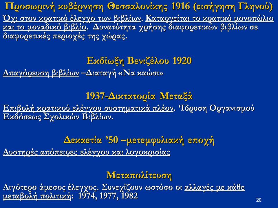 20 Προσωρινή κυβέρνηση Θεσσαλονίκης 1916 (εισήγηση Γληνού) Όχι στον κρατικό έλεγχο των βιβλίων. Καταργείται το κρατικό μονοπώλιο και το μοναδικό βιβλί
