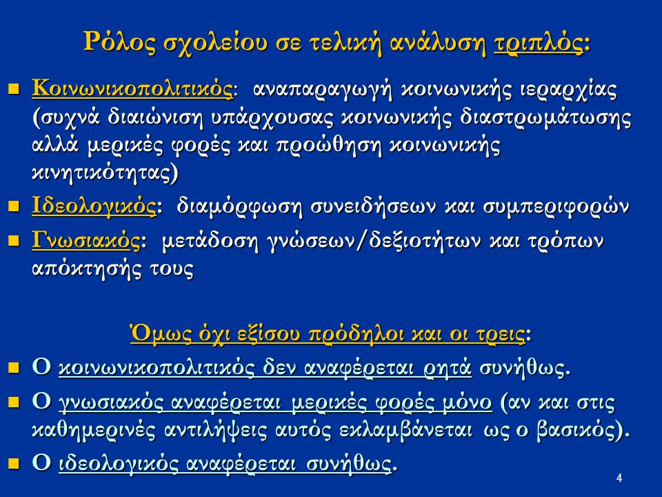 5 Νομοθεσία για στόχους ελληνικού σχολείου: ιστορική αναδρομή Το ποιοι στόχοι αναφέρονται εξαρτάται και από κοινωνικο-πολιτικές και ιδεολογικές εξελίξεις ελληνικής κοινωνίας ελληνικής κοινωνίας Αποσιωπάται ο κοινωνικοπολιτικός του ρόλος Αποσιωπάται ο κοινωνικοπολιτικός του ρόλος Yπογραμμίζεται πάντα ο ιδεολογικός Yπογραμμίζεται πάντα ο ιδεολογικός O γνωσιακός αναφέρεται από μία ιστορική στιγμή και μετά μόνο O γνωσιακός αναφέρεται από μία ιστορική στιγμή και μετά μόνο