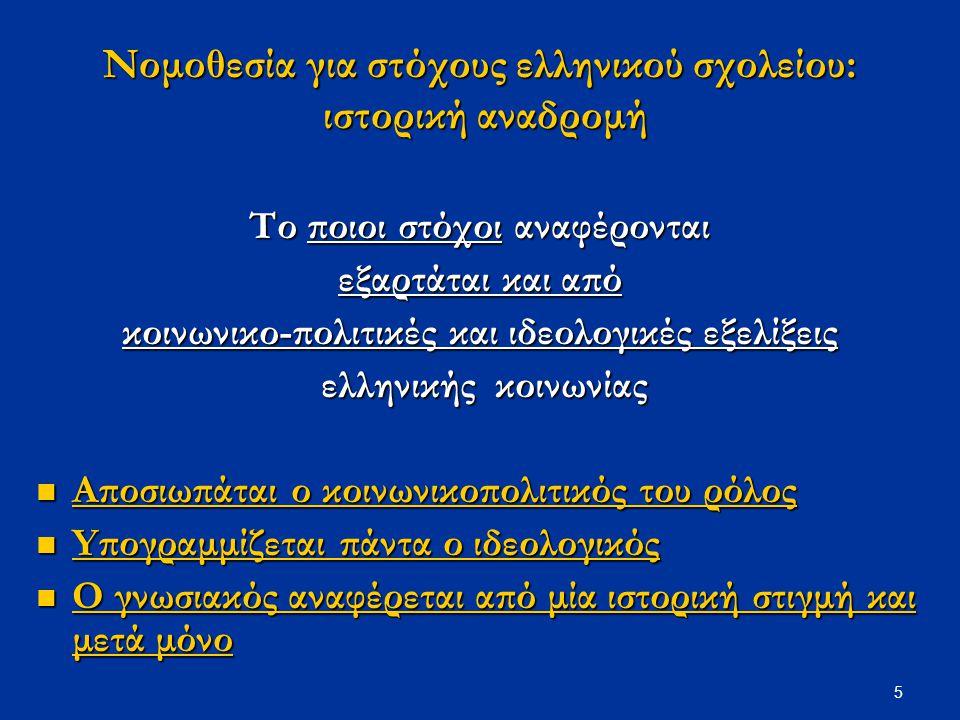 5 Νομοθεσία για στόχους ελληνικού σχολείου: ιστορική αναδρομή Το ποιοι στόχοι αναφέρονται εξαρτάται και από κοινωνικο-πολιτικές και ιδεολογικές εξελίξ