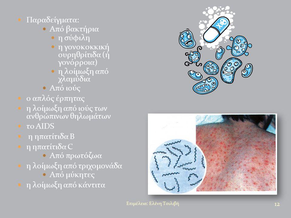 Παραδείγματα: Από βακτήρια η σύφιλη η γονοκοκκική ουρηθρίτιδα (ή γονόρροια) η λοίμωξη από χλαμύδια Από ιούς ο απλός έρπητας η λοίμωξη από ιούς των ανθ