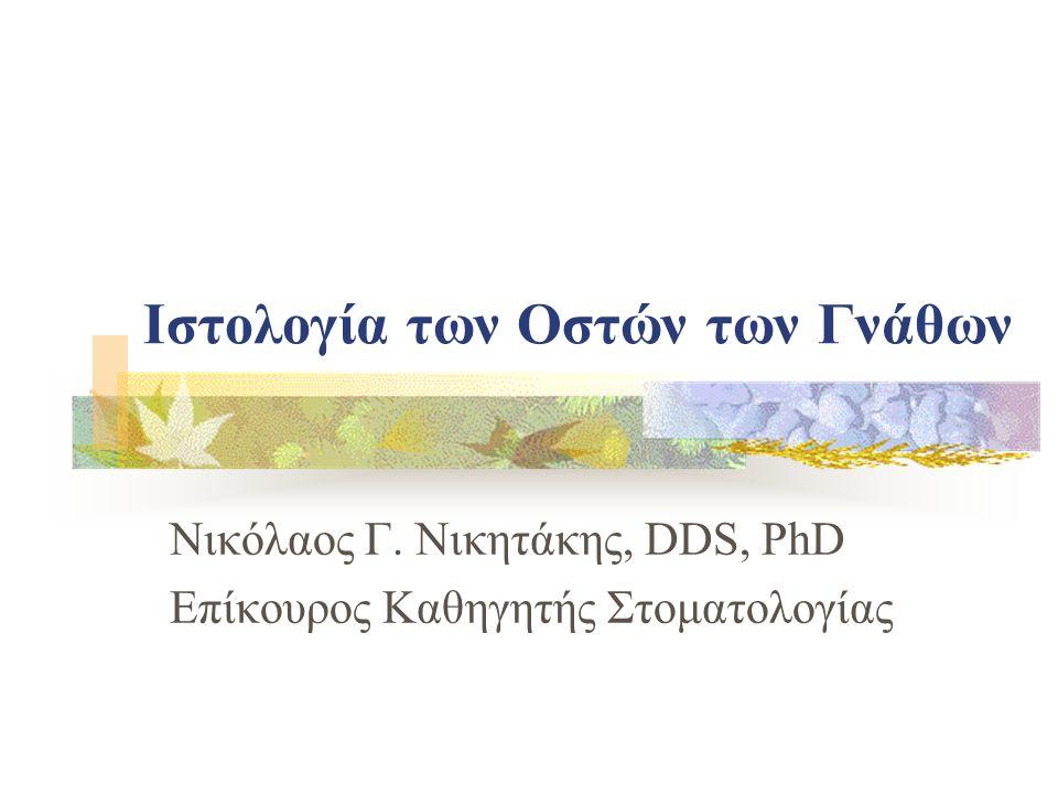 Ιστολογία των Οστών των Γνάθων Νικόλαος Γ. Νικητάκης, DDS, PhD Επίκουρος Καθηγητής Στοματολογίας