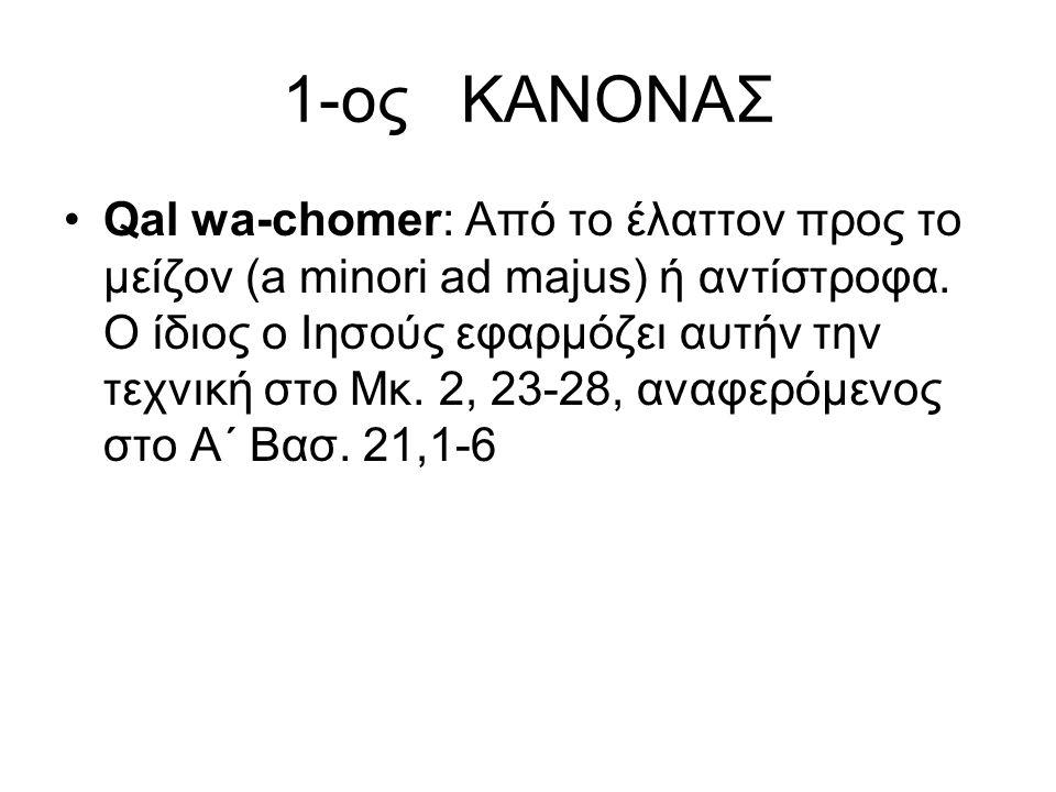 1-ος ΚΑΝΟΝΑΣ Qal wa-chomer: Από το έλαττον προς το μείζον (a minori ad majus) ή αντίστροφα.