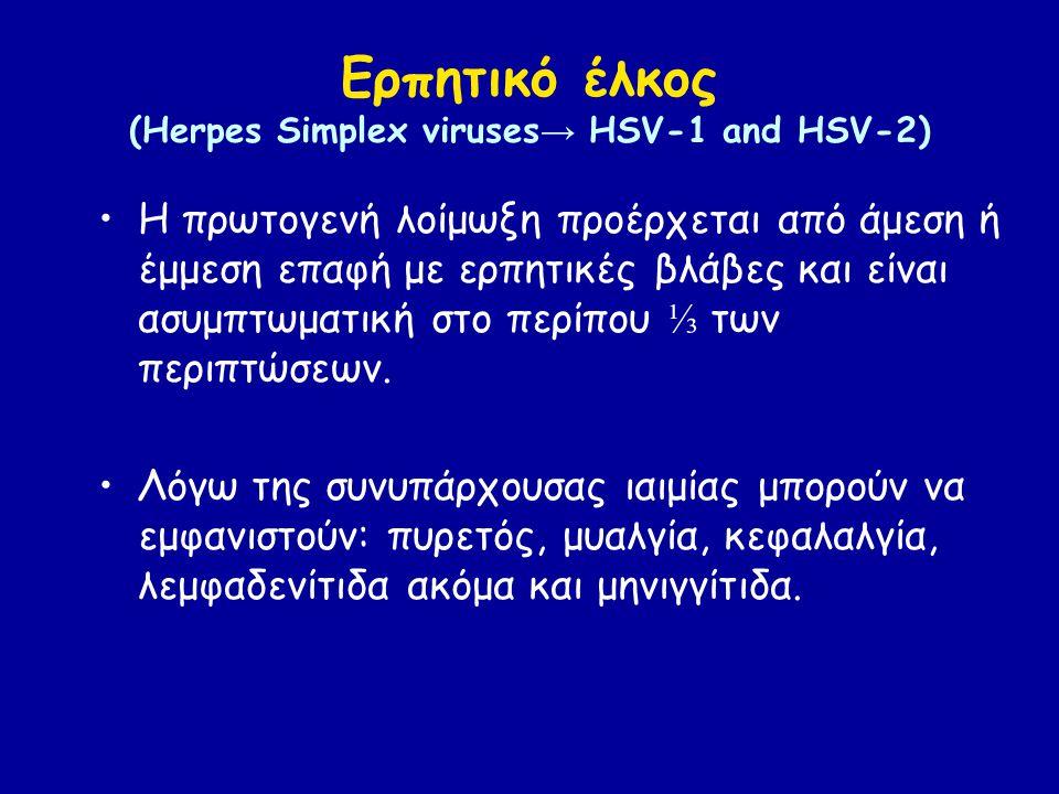 Ερπητικό έλκος (Herpes Simplex viruses → HSV-1 and HSV-2) Η πρωτογενή λοίμωξη προέρχεται από άμεση ή έμμεση επαφή με ερπητικές βλάβες και είναι ασυμπτωματική στο περίπου ⅓ των περιπτώσεων.