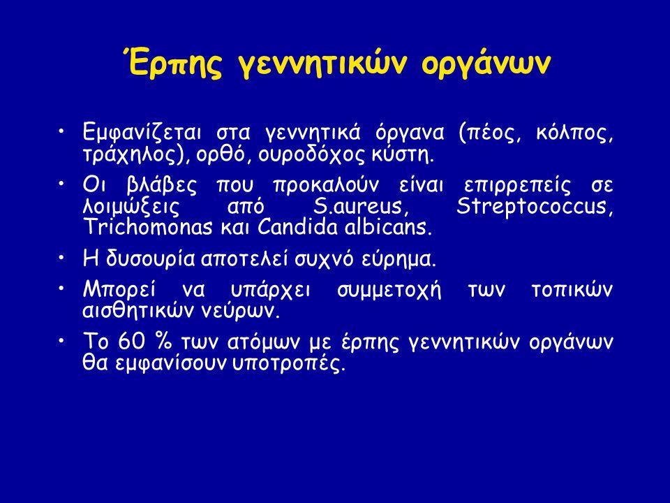 Έρπης γεννητικών οργάνων Εμφανίζεται στα γεννητικά όργανα (πέος, κόλπος, τράχηλος), ορθό, ουροδόχος κύστη.