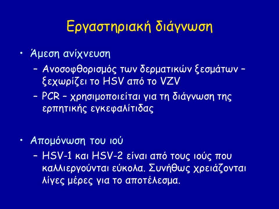 Εργαστηριακή διάγνωση Άμεση ανίχνευση –Ανοσοφθορισμός των δερματικών ξεσμάτων – ξεχωρίζει το HSV από το VZV –PCR – χρησιμοποιείται για τη διάγνωση της ερπητικής εγκεφαλίτιδας Απομόνωση του ιού –HSV-1 και HSV-2 είναι από τους ιούς που καλλιεργούνται εύκολα.
