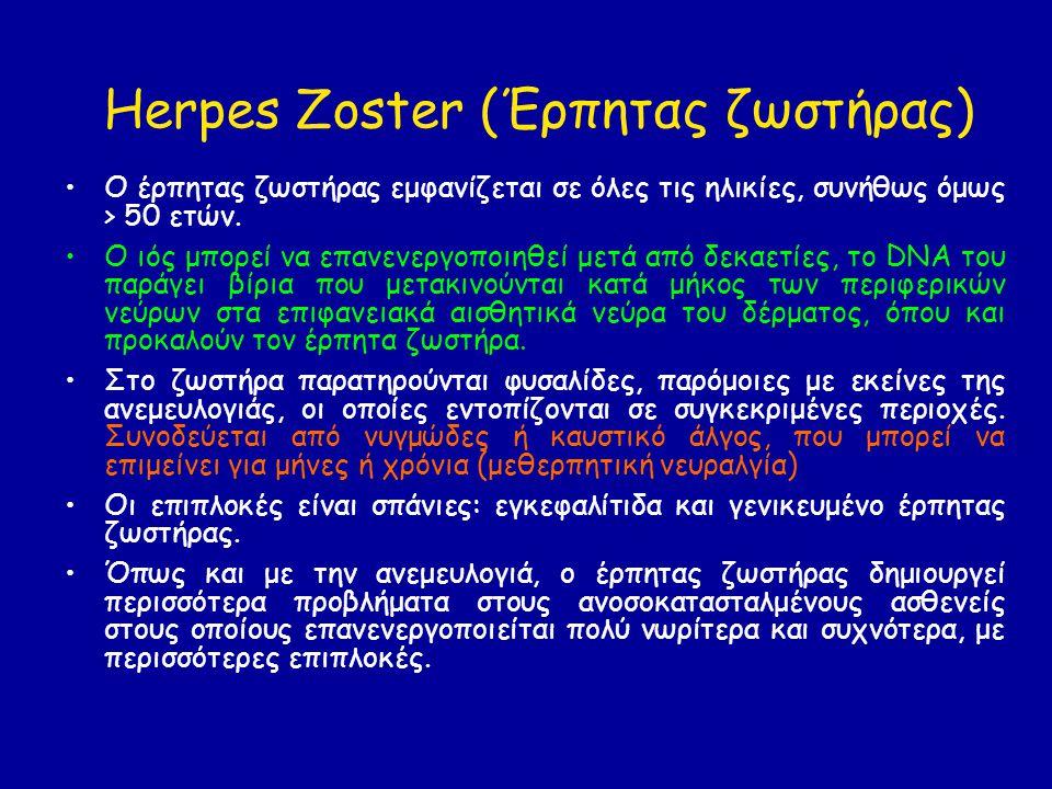 Herpes Zoster (Έρπητας ζωστήρας) Ο έρπητας ζωστήρας εμφανίζεται σε όλες τις ηλικίες, συνήθως όμως > 50 ετών.