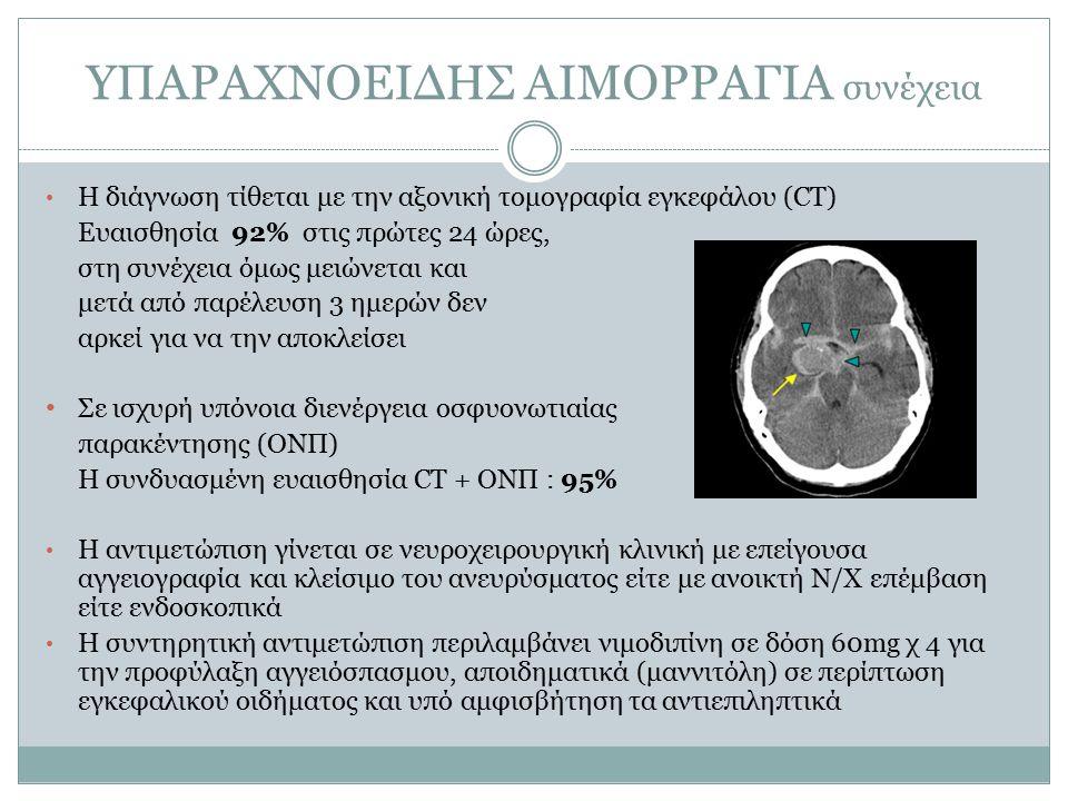 ΥΠΑΡΑΧΝΟΕΙΔΗΣ ΑΙΜΟΡΡΑΓΙΑ συνέχεια Η διάγνωση τίθεται με την αξονική τομογραφία εγκεφάλου (CT) Ευαισθησία 92% στις πρώτες 24 ώρες, στη συνέχεια όμως μειώνεται και μετά από παρέλευση 3 ημερών δεν αρκεί για να την αποκλείσει Σε ισχυρή υπόνοια διενέργεια οσφυονωτιαίας παρακέντησης (ΟΝΠ) Η συνδυασμένη ευαισθησία CT + ΟΝΠ : 95% Η αντιμετώπιση γίνεται σε νευροχειρουργική κλινική με επείγουσα αγγειογραφία και κλείσιμο του ανευρύσματος είτε με ανοικτή Ν/Χ επέμβαση είτε ενδοσκοπικά Η συντηρητική αντιμετώπιση περιλαμβάνει νιμοδιπίνη σε δόση 60mg χ 4 για την προφύλαξη αγγειόσπασμου, αποιδηματικά (μαννιτόλη) σε περίπτωση εγκεφαλικού οιδήματος και υπό αμφισβήτηση τα αντιεπιληπτικά