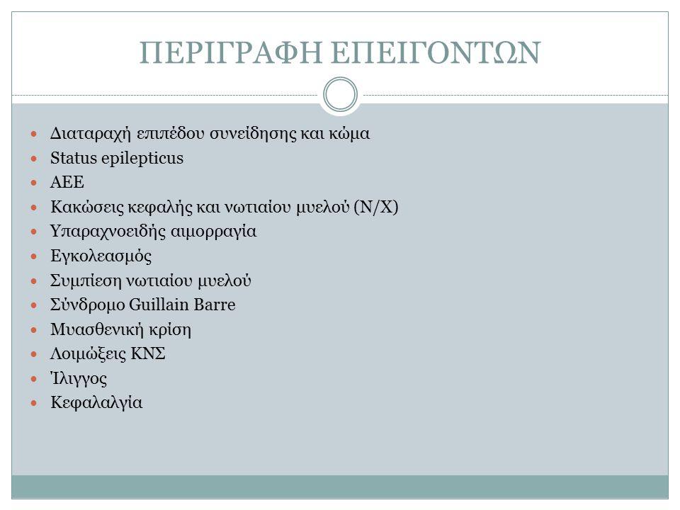 ΠΕΡΙΓΡΑΦΗ ΕΠΕΙΓΟΝΤΩΝ Διαταραχή επιπέδου συνείδησης και κώμα Status epilepticus ΑΕΕ Κακώσεις κεφαλής και νωτιαίου μυελού (Ν/Χ) Υπαραχνοειδής αιμορραγία Εγκολεασμός Συμπίεση νωτιαίου μυελού Σύνδρομο Guillain Barre Μυασθενική κρίση Λοιμώξεις ΚΝΣ Ίλιγγος Κεφαλαλγία