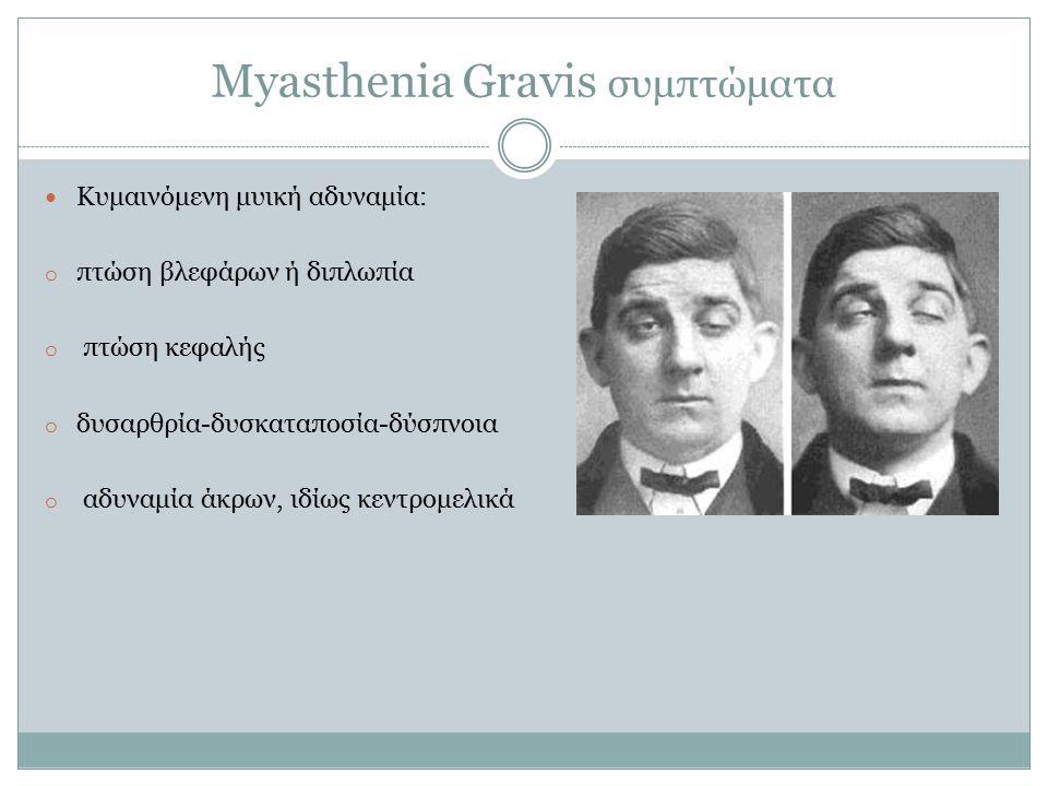 Myasthenia Gravis συμπτώματα Κυμαινόμενη μυική αδυναμία: o πτώση βλεφάρων ή διπλωπία o πτώση κεφαλής o δυσαρθρία-δυσκαταποσία-δύσπνοια o αδυναμία άκρων, ιδίως κεντρομελικά