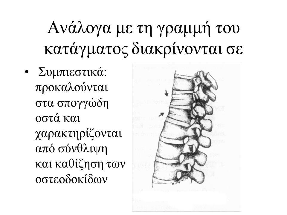 Ανάλογα με τη γραμμή του κατάγματος διακρίνονται σε Εσφηνωμένα: ονομάζονται έτσι επειδή το άκρο του ενός τμήματος του οστού σφηνώνει μέσα στο άκρο του άλλου (βραχιόνιο ή ισχίο)