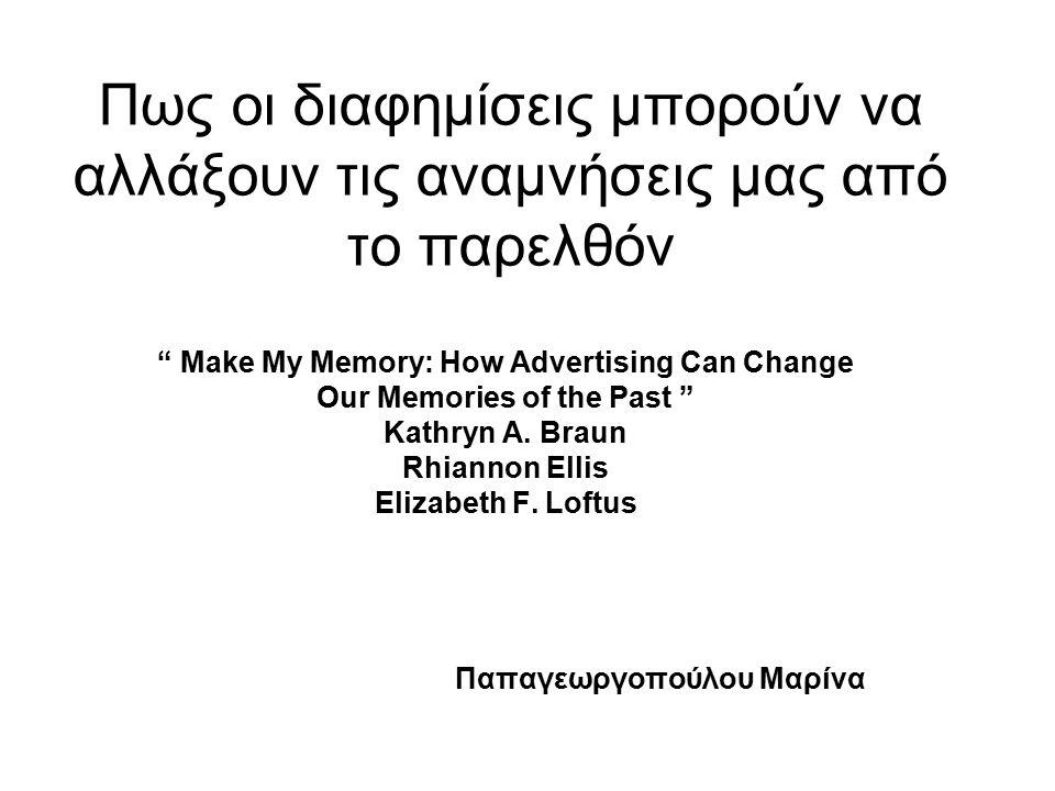 Πως οι διαφημίσεις μπορούν να αλλάξουν τις αναμνήσεις μας από το παρελθόν Make My Memory: How Advertising Can Change Our Memories of the Past Kathryn A.