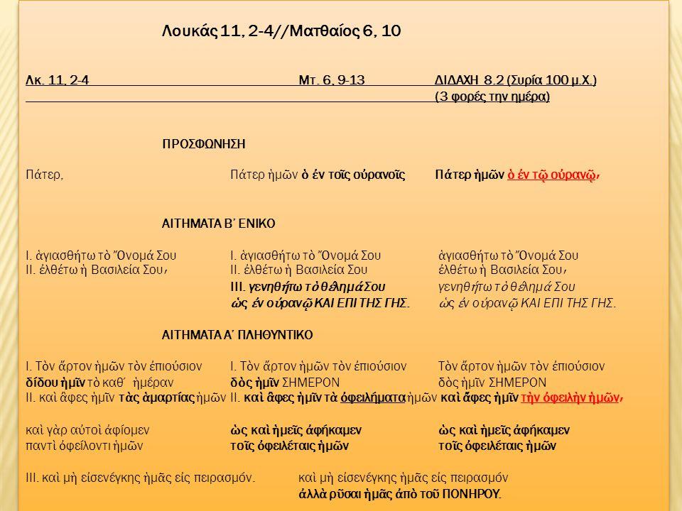 Λουκάς 11, 2-4//Mατθαίος 6, 10 Λκ.11, 2-4Μτ.