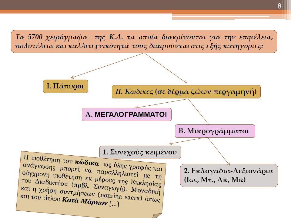 8 Τα 5700 χειρόγραφα της Κ.Δ. τα οποία διακρίνονται για την επιμέλεια, πολυτέλεια και καλλιτεχνικότητά τους διαιρούνται στις εξής κατηγορίες: Ι. Πάπυρ