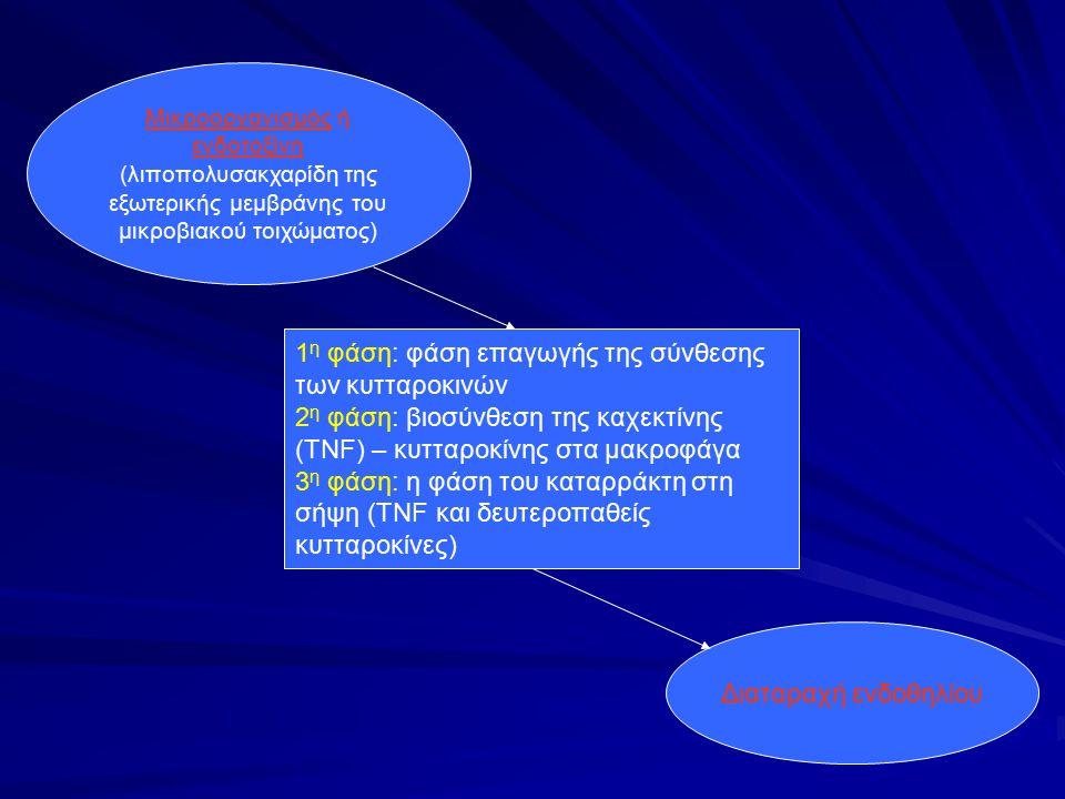 Μικροοργανισμός ή ενδοτοξίνη (λιποπολυσακχαρίδη της εξωτερικής μεμβράνης του μικροβιακού τοιχώματος) 1 η φάση: φάση επαγωγής της σύνθεσης των κυτταροκ