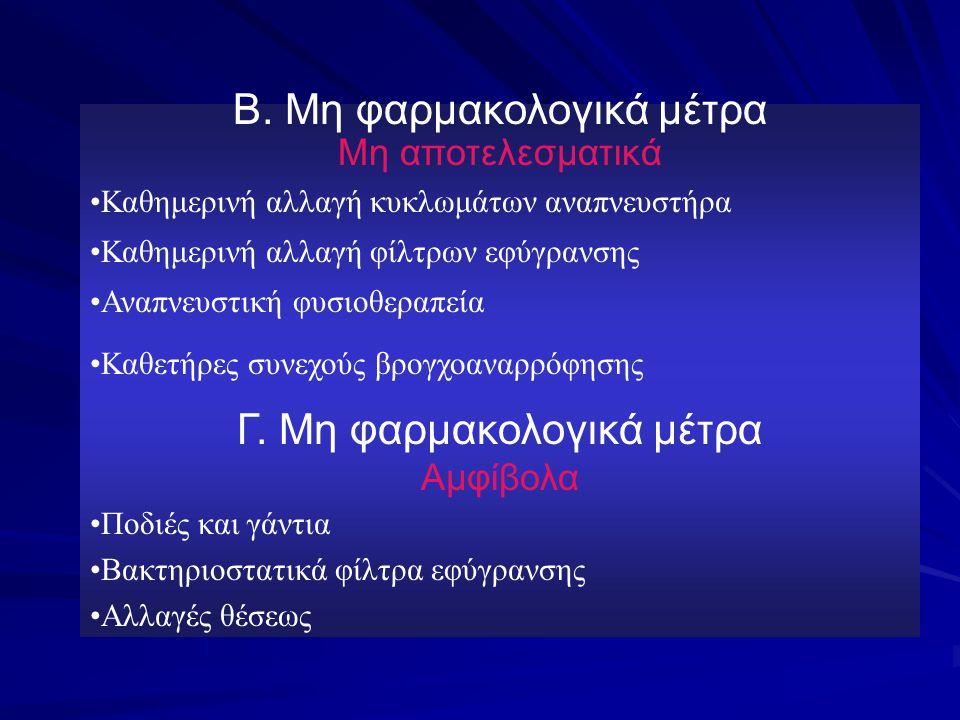 Β. Μη φαρμακολογικά μέτρα Μη αποτελεσματικά Καθημερινή αλλαγή κυκλωμάτων αναπνευστήρα Καθημερινή αλλαγή φίλτρων εφύγρανσης Αναπνευστική φυσιοθεραπεία