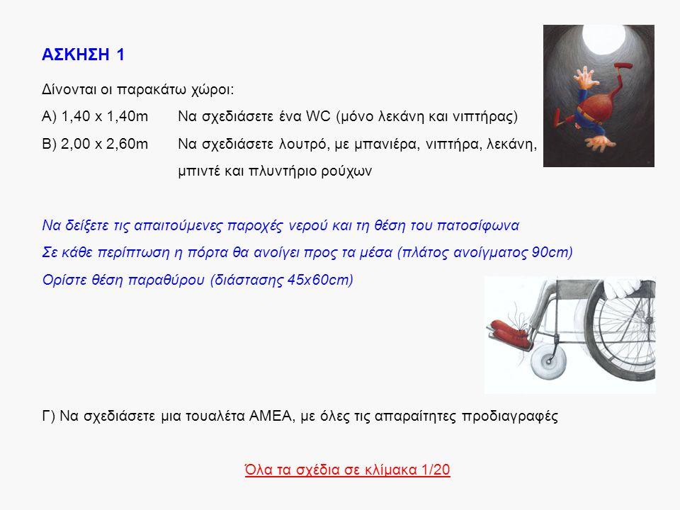 ΑΣΚΗΣΗ 1 Δίνονται οι παρακάτω χώροι: Α) 1,40 x 1,40mΝα σχεδιάσετε ένα WC (μόνο λεκάνη και νιπτήρας) Β) 2,00 x 2,60mΝα σχεδιάσετε λουτρό, με μπανιέρα,