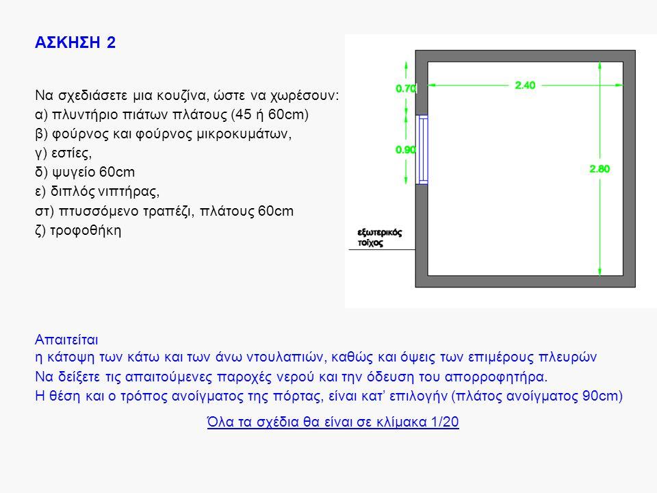 ΑΣΚΗΣΗ 2 Να σχεδιάσετε μια κουζίνα, ώστε να χωρέσουν: α) πλυντήριο πιάτων πλάτους (45 ή 60cm) β) φούρνος και φούρνος μικροκυμάτων, γ) εστίες, δ) ψυγεί