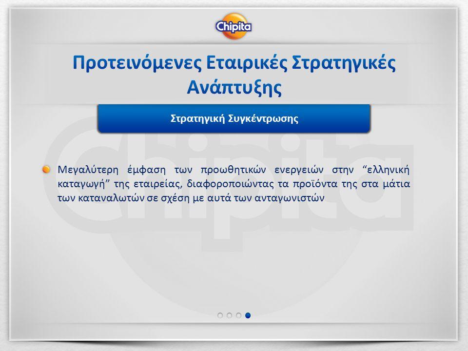 Στρατηγική Ανάπτυξης ΠροϊόντωνΣτρατηγική Συγκέντρωσης Μεγαλύτερη έμφαση των προωθητικών ενεργειών στην ελληνική καταγωγή της εταιρείας, διαφοροποιώντας τα προϊόντα της στα μάτια των καταναλωτών σε σχέση με αυτά των ανταγωνιστών