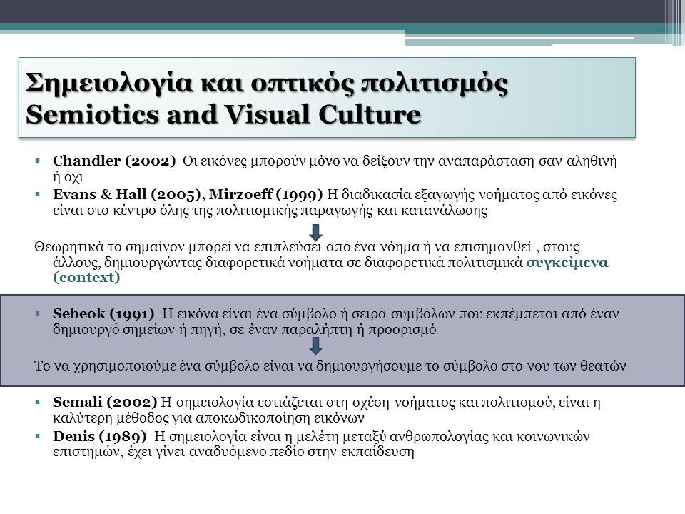 Σημειολογία και οπτικός πολιτισμός Semiotics and Visual Culture  Chandler (2002) Οι εικόνες μπορούν μόνο να δείξουν την αναπαράσταση σαν αληθινή ή όχ