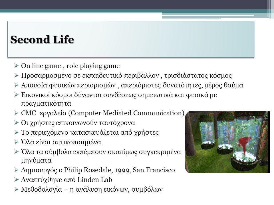 Second Life  Οn line game, role playing game  Προσαρμοσμένο σε εκπαιδευτικό περιβάλλον, τρισδιάστατος κόσμος  Απουσία φυσικών περιορισμών, απεριόρι