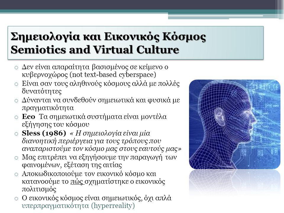 Σημειολογία και Εικονικός Κόσμος Semiotics and Virtual Culture o Δεν είναι απαραίτητα βασισμένος σε κείμενο ο κυβερνοχώρος (not text-based cyberspace)