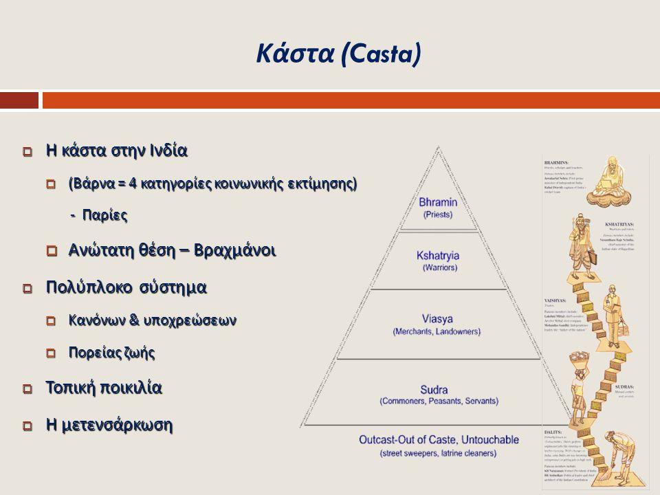Κάστα (Casta)  Η κάστα στην Ινδία  ( Βάρνα = 4 κατηγορίες κοινωνικής εκτίμησης ) - Παρίες - Παρίες  Ανώτατη θέση – Βραχμάνοι  Πολύπλοκο σύστημα 