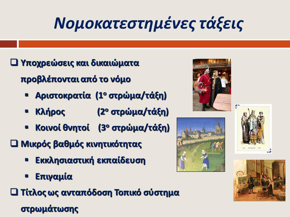 Κοινωνικές τάξεις /1  Ευρεία και στενή σημασία του όρου  Ossofski: Εμφανίζεται το 18 ο αιώνα ( μετά το 1789)  3 σημασίες του όρου ' κοινωνική τάξη '  Διαφέρουν από τη δουλεία, την κάστα & νομοκατεστημένες τάξεις  Δεν θεμελιώνονται σε νομικές / θρησκευτικές βάσεις  Η συμμετοχή είναι προϊόν ' κατάκτησης '  Εξαρτώνται από οικονομικές διαφοροποιήσεις  Σύστημα δικαιωμάτων και υποχρεώσεων  Κοινωνική κινητικότητα  Κάθετη και οριζόντια  Ανοδική και καθοδική  Ενδογενεακή και διαγενεακή