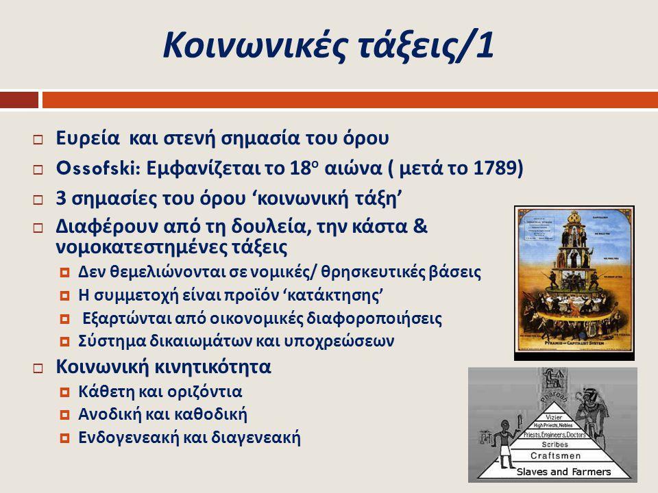 Κοινωνικές τάξεις /1  Ευρεία και στενή σημασία του όρου  Ossofski: Εμφανίζεται το 18 ο αιώνα ( μετά το 1789)  3 σημασίες του όρου ' κοινωνική τάξη