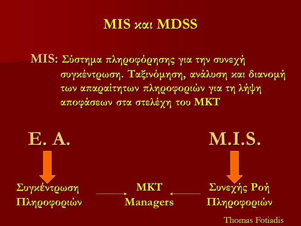 MIS και MDSS MIS: Σύστημα πληροφόρησης για την συνεχή συγκέντρωση. Ταξινόμηση, ανάλυση και διανομή των απαραίτητων πληροφοριών για τη λήψη αποφάσεων σ