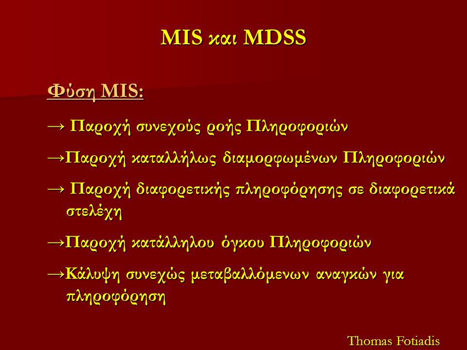 MIS και MDSS Φύση MIS: → Παροχή συνεχούς ροής Πληροφοριών →Παροχή καταλλήλως διαμορφωμένων Πληροφοριών → Παροχή διαφορετικής πληροφόρησης σε διαφορετι