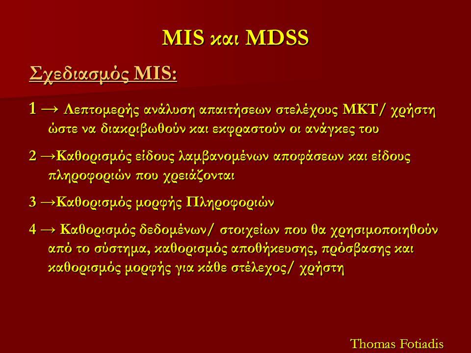 MIS και MDSS Σχεδιασμός MIS: 1 → Λεπτομερής ανάλυση απαιτήσεων στελέχους ΜΚΤ/ χρήστη ώστε να διακριβωθούν και εκφραστούν οι ανάγκες του 2 →Καθορισμός