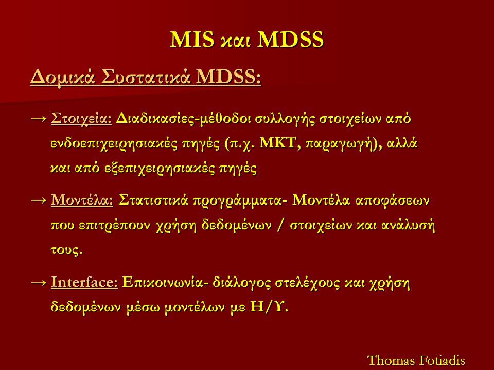 MIS και MDSS Δομικά Συστατικά MDSS: → Στοιχεία: Διαδικασίες-μέθοδοι συλλογής στοιχείων από ενδοεπιχειρησιακές πηγές (π.χ. ΜΚΤ, παραγωγή), αλλά και από
